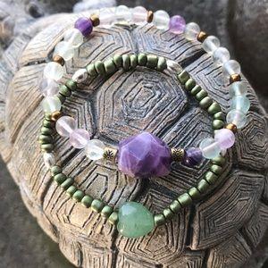 Fluorite amethyst and jade bracelets